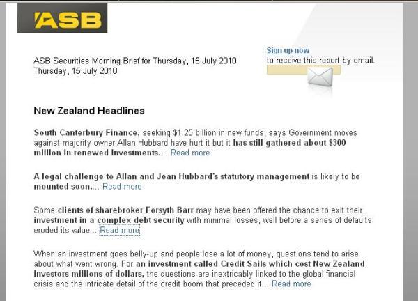ASB Morning Brief 15 July 2010